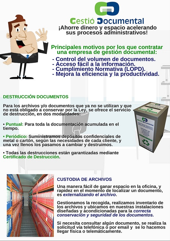 gestio documental digitalizacion de archivos custodia de documentos destruccion de documentos